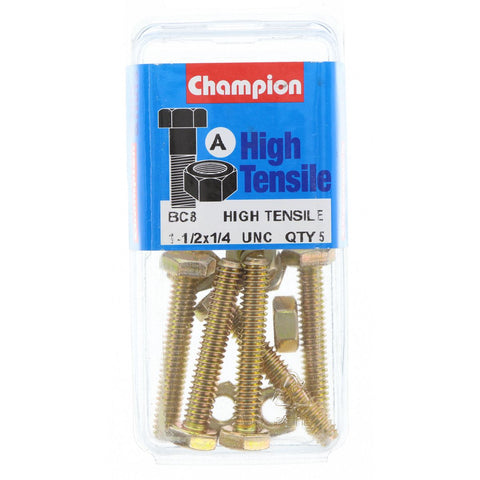 "Champion Fully Threaded Set Screws and Nuts 1-1/2"" x 1/4 BC8"