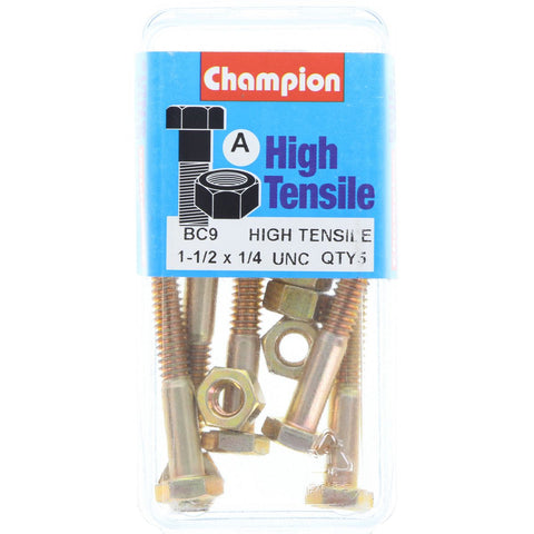 "Champion Bolt and Nuts 1-1/2"" x 1/4  BC9"