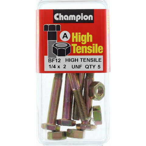 "Champion Fully Threaded Set Screws and Nuts 2"" x ¼ BF12"