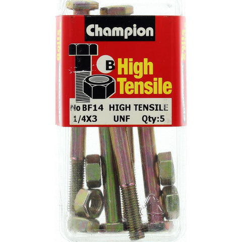 "Champion Fully Threaded Set Screws and Nuts 3"" x ¼ BF14"