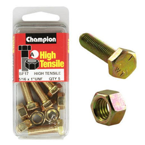 "Champion Fully Threaded Set Screws and Nuts 1"" x 5/16 BF17"