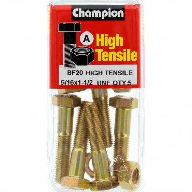 Champion Fully Threaded Set Screws and Nuts 1-1/2 x 5/16 BF20