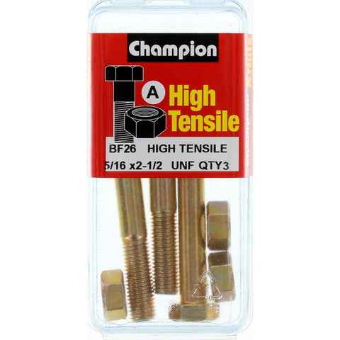 "Champion Bolt and Nuts 2"" -1/2 x 5/16  BF26"