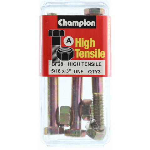 "Champion Bolt and Nuts 3"" x 5/16  BF28"