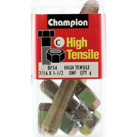 "Champion Fully Threaded Set Screws and Nuts 1-1/2"" x 7/16 BF54"
