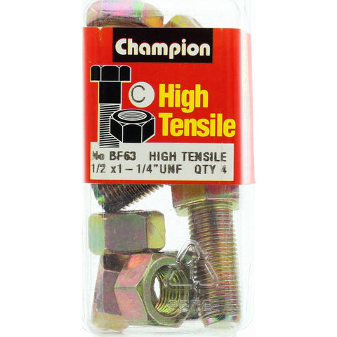 "Champion Fully Threaded Set Screws and Nuts 1-1/4"" x 1/2 BF63"