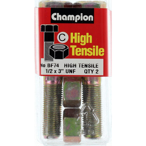 "Champion Bolt and Nuts 3"" x 1/2  BF74"