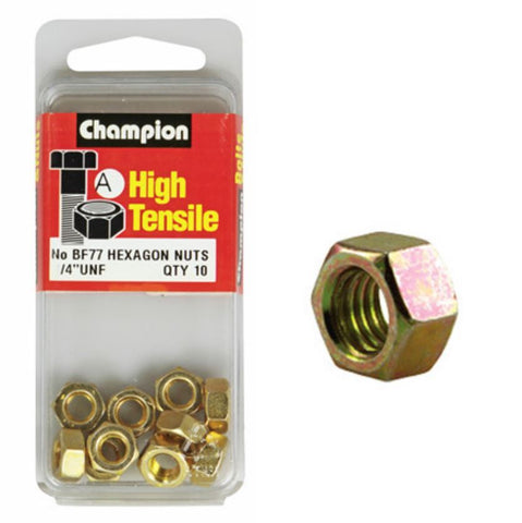 "Champion Hexagon Nuts UNF 1/4 ""-BF77"