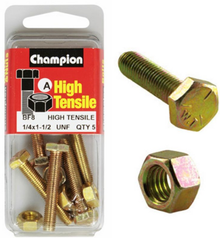 Champion Fully Threaded Set Screws and Nuts 1-1/2 x ¼ BF8