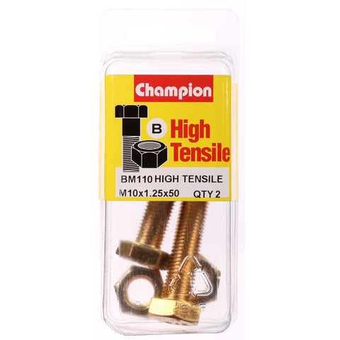Champion Fully Threaded Set Screws and Nuts 10 x 50x 1.25 mm- BM110