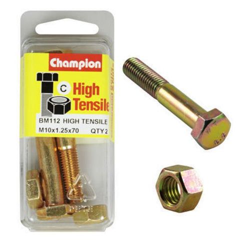 Champion Fully Threaded Set Screws and Nuts 10 x 70x 1.25 mm- BM112