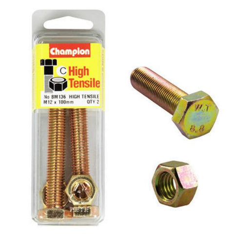 Champion Fully Threaded Set Screws and Nuts 12 x 100 x 1.75 mm- BM136