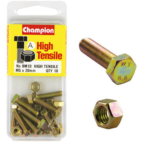 Champion Fully Threaded Set Screws and Nuts 5 x 20mm- BM13