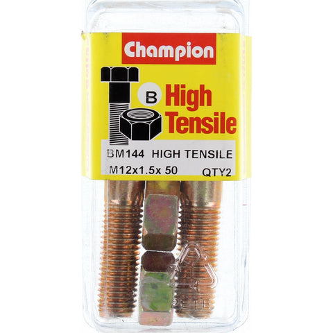 Champion Fully Threaded Set Screws and Nuts 12 x 50 x 1.5 mm- BM144