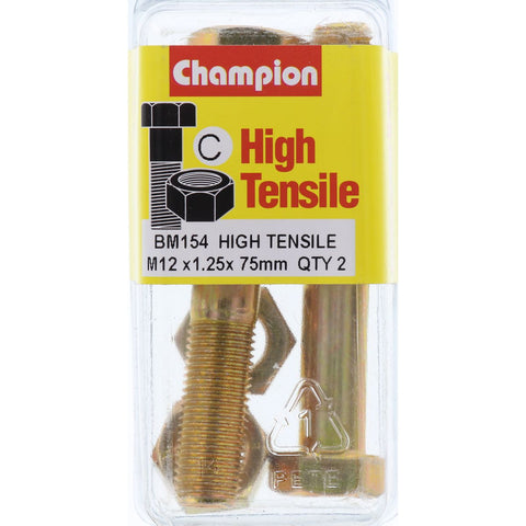 Champion Fully Threaded Set Screws and Nuts 12 x 75 x 1.25 mm- BM154