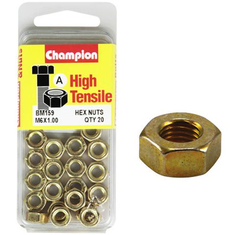 Champion Metric Hex Nuts 6 x .1.0mm- BM159