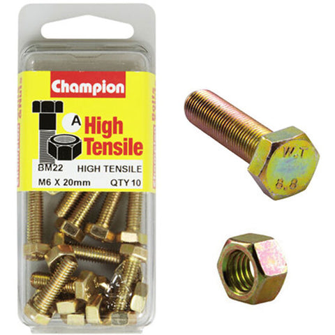 Champion Fully Threaded Set Screws and Nuts 6 x 20mm- BM22