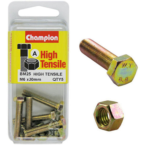 Champion Fully Threaded Set Screws and Nuts 6 x 30mm- BM25