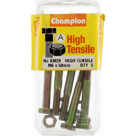 Champion Fully Threaded Set Screws and Nuts 6 x 50mm- BM29