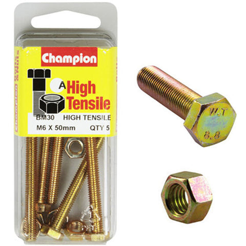 Champion Fully Threaded Set Screws and Nuts 6 x 50mm- BM30