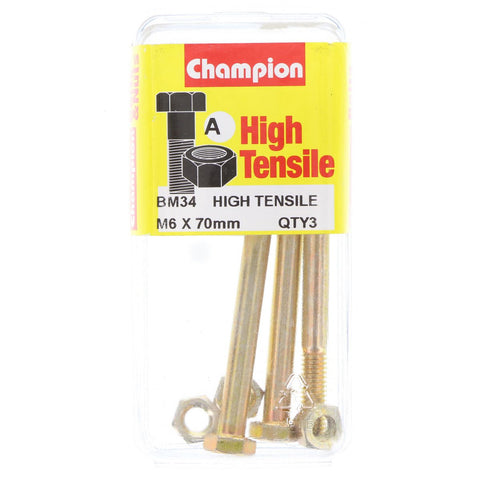 Champion Fully Threaded Set Screws and Nuts 6 x 70mm- BM34