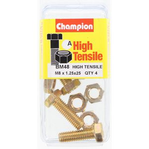 Champion Fully Threaded Set Screws and Nuts 8 x 25mm- BM48