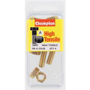 Champion Fully Threaded Set Screws and Nuts 8 x 30mm- BM51