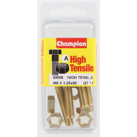 Champion Fully Threaded Set Screws and Nuts 8 x 50mm- BM58
