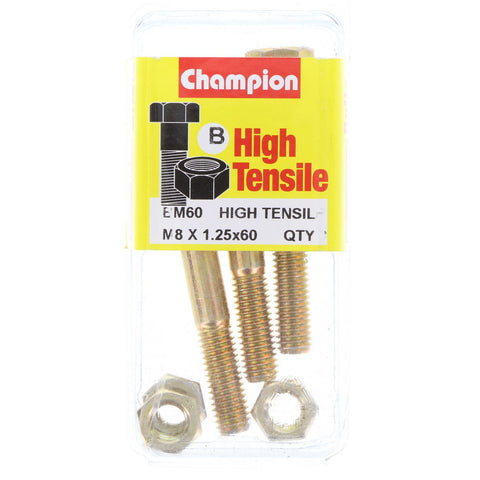 Champion Fully Threaded Set Screws and Nuts 8 x 60mm- BM60