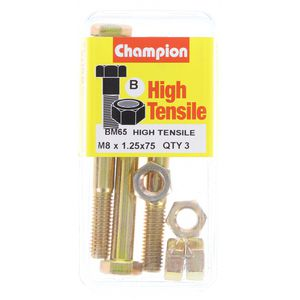 Champion Fully Threaded Set Screws and Nuts 8 x 75mm- BM65