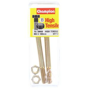 Champion Fully Threaded Set Screws and Nuts 8 x 100mm- BM69