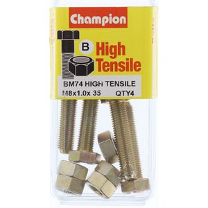 Champion Fully Threaded Set Screws and Nuts 8 x 35 x1.0 mm- BM74