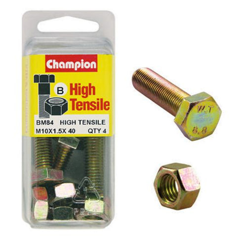 Champion Fully Threaded Set Screws and Nuts 10 x 40 mm- BM84
