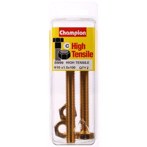 Champion Fully Threaded Set Screws and Nuts 10 x 100 mm- BM99