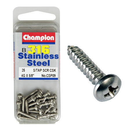 "Champion Self Tapping Pan Head Screws 4G x 5/8 "" CSP09"