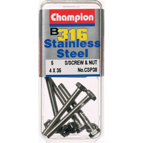 Champion Screws and Nut Set 4mm x 35mm  CSP38