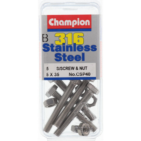Champion Screws and Nut Set 5mm x 35mm  CSP40