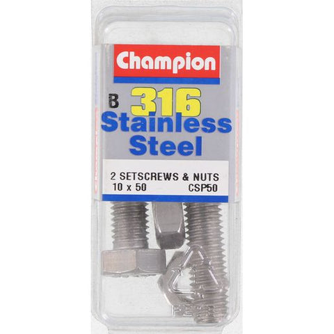 Champion Screws and Nut Set 10mm x 50mm  CSP50