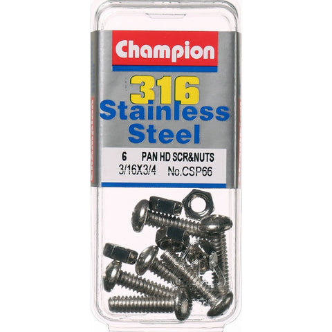 "Champion Pan Head Screws and Nuts 3/16 "" x 3/4 "" CSP66"