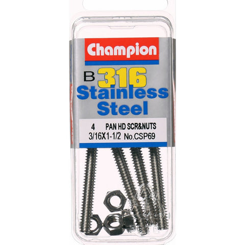 "Champion Pan Head Screws and Nuts 3/16 "" x 1-1/2 "" CSP69"