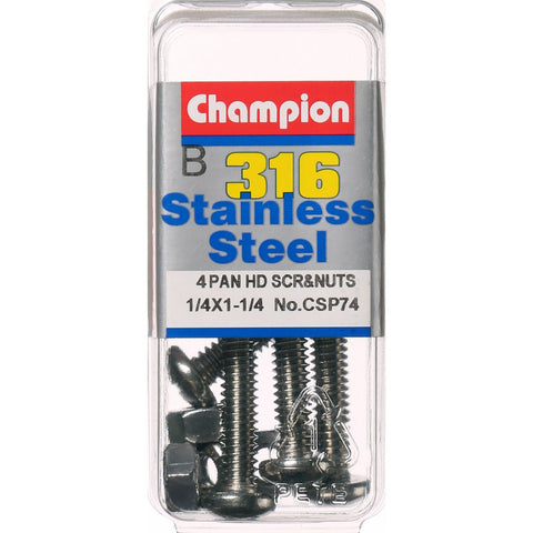 "Champion Pan Head Screws and Nuts 1/4 "" x 1-1/4 "" CSP74"