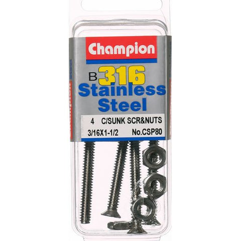 "Champion CounterSunk Screws and Nuts 3/16"" x 1-1/2 "" CSP80"
