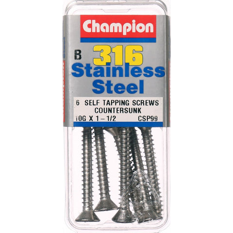 Champion Self Tapping CounterSunk Screws 10G x 1-1/2-CSP99