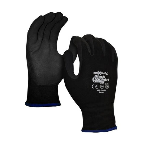 MAXISAFE- Black Night – Nylon Glove Nitrile Coated - GNN192