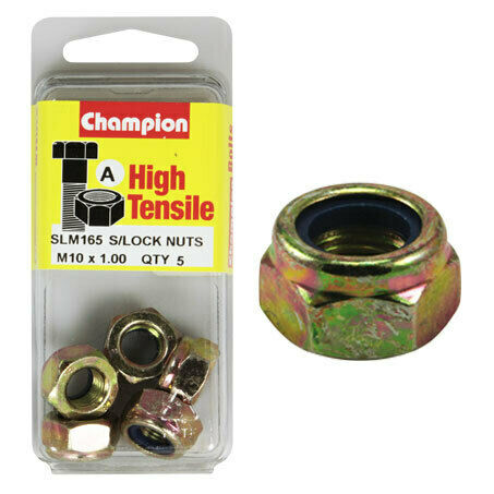 Champion Blister Nyloc-Self Locking Metric Nuts M10 x 1.00-SLM165