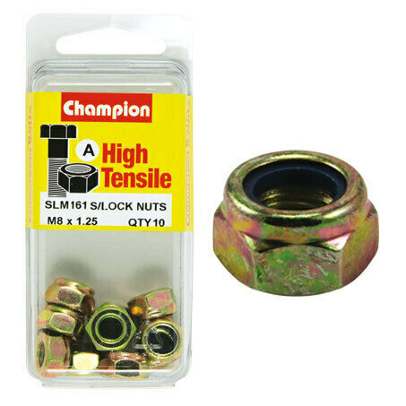 Champion Blister Nyloc-Self Locking Metric Nuts M8 x 1.25-SLM161
