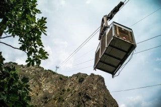 Domaine de Beudon's legendary cable car heading to the top where the biodynamic Chasselas is grown.