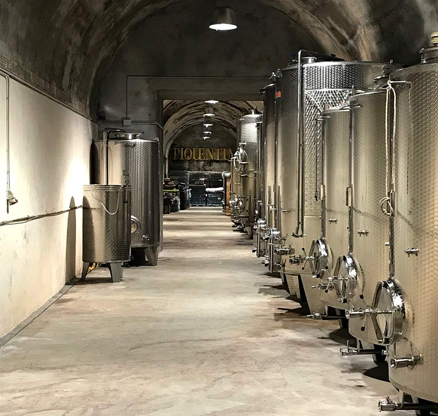 Fermentation tanks in the Istrian deep-buried Piquentum winery, originally built as a water cistern in 1928 under Mussolini.
