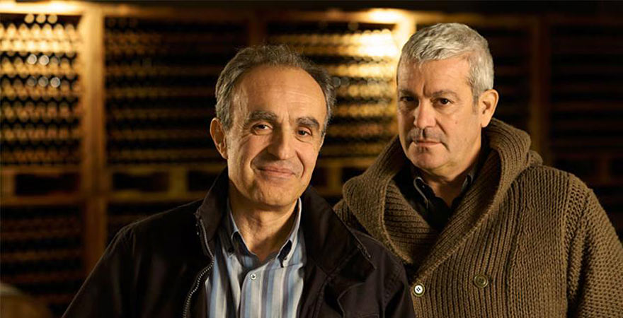 Yiannis Paraskevopoulos and Leon Karatsalos, founders of the iconic Gaia winery in their Nemea cellar.