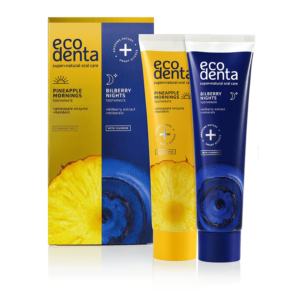 EcoDenta Pineapple Mornings and Bilberry Nights Toothpaste 2x100ml